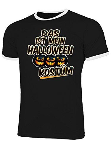 en Kostüm 4434 Fun Shirt Männer mit Spruch lustig Herren Ringer Tshirts Schwarz Weiss XL ()
