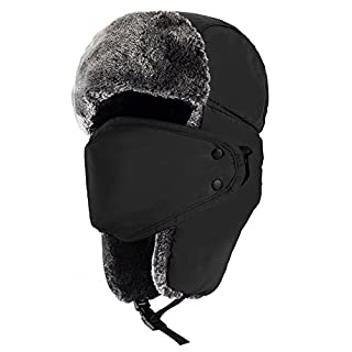 Unisex Winter Trooper Hat, Mysuntown Unisex Classic Winter Hunting Trapper Hat Pilot Hat Warm Snow Ski Hat with Russian Ear Flap Chin Strap and Windproof Mask, 4 colors