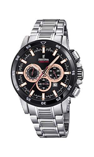 Festina Herren Chronograph Quarz Smart Watch Armbanduhr mit Edelstahl Armband F20352/5