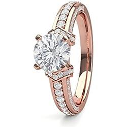 18K Rosa Oro 4Prong ajuste lateral diamante compromiso anillo de boda tamaño–4,5