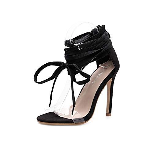 Frauensandalen transparente PVC-Folie Stiletto High Heel offene Spitze Schnürschuhe Schwarze Schuhe Europa und die Vereinigten Staaten Frühling und Sommer neu,40EU -