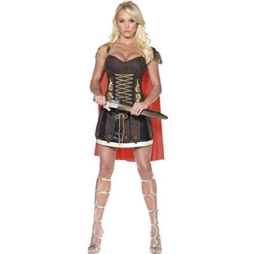 Fever, Damen Gladiator Kostüm, Kleid mit Umhang, Größe: M, (Ideen Alte Dame Kostüm)