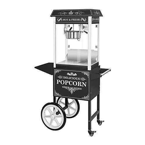 Royal Catering Palomitera Con Carrito E Iluminación LED Diseño Retro Negro RCPW-16.2 Popcorn Machine LED Set (1600 Watt, Olla Con Revestimiento De Teflón)