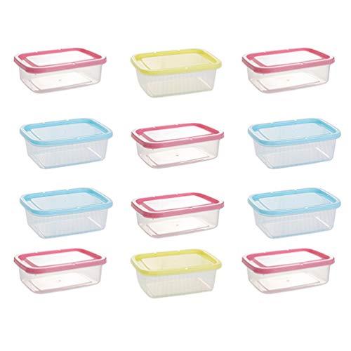 VOSAREA 12 Stücke Vorratsdosen Frischhaltedose Lunchbox mit Deckel Frischhaltebox Brotdose Lebensmittelbehälter für Kühlschrank Mikrowelle Gefrierschrank 350ml (Zufällige Farbe)