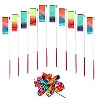 BESTFY 10 Pack 4 Meter Gym Dance Ribbon Rhythmic Art Gymnastic Streamer Twirling Rod Stick(19 Inch Rod) Rainbow Color