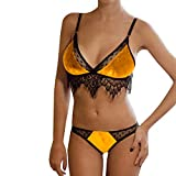 Sexy Dentelle Stitching Gold Velvet Set Deep V Seduction Sexy Lingerie l en Or...