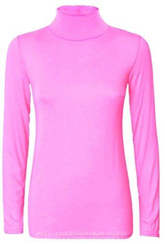 Nuovo da donna a maniche lunghe Tartaruga Polo Collo Maglione Top 8–26 Baby Pink