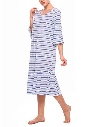 Ekouaer Stillnachthemd Damen Baumwolle Nachthemd lang Umstandsnachthemd 1/2 Arm Blau