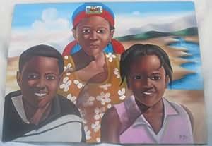"""Tableau Haitien """" La Famille Haitienne"""" Fait En Toile Par Des Peintres Haitiens."""