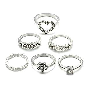 Eleusine 6 Stücke Vintage Herz Blume Krone Form Ringe Für Frauen Mädchen Böhmischen Carving Kristall Midi Knuckle Ringe