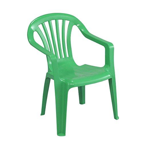 Greemotion sedia poltroncina impilabile bambini in plastica, sedia monoblocco bambini ca. 38 x 38 x 52 cm, verde