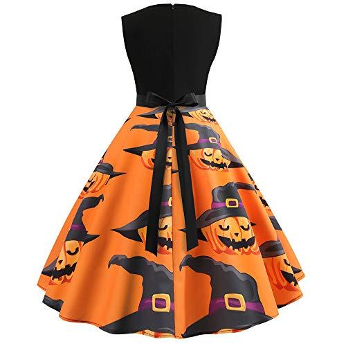 TIFIY Damen Kleid Halloween Damen Ärmelloses Abendkleid Vintage Druck EIN LineKleid Party Schaukel Kleid Halloween Elegantes Knielanges Kleid(Orange,EU:38)