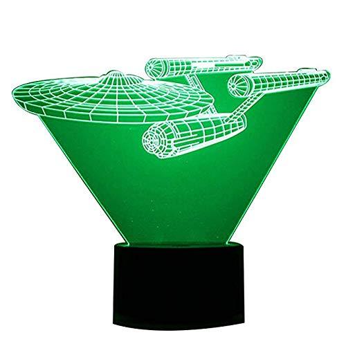 3d Optische Täuschung Schreibtischlampe / 7 Farben Ändern Touch Button Nachtlicht/Visualisierung Lichteffekte Kunst Skulptur LichtRaumschiff ()