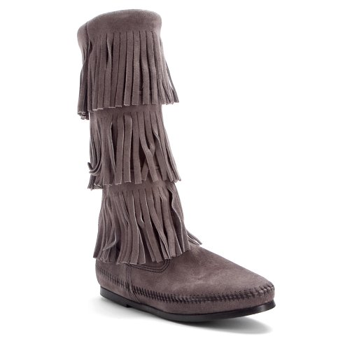 Minnetonka 1631T Calf Hi 3-Layer Fringe Boot, Damen Stiefel Grey