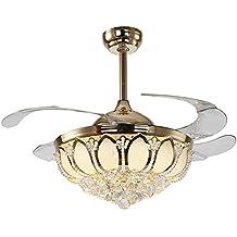 YFF@ILU Stealth Fan, Kronleuchter, Lotus Kristall Ventilator Lampe Licht Ventilator  Deckenventilator Licht