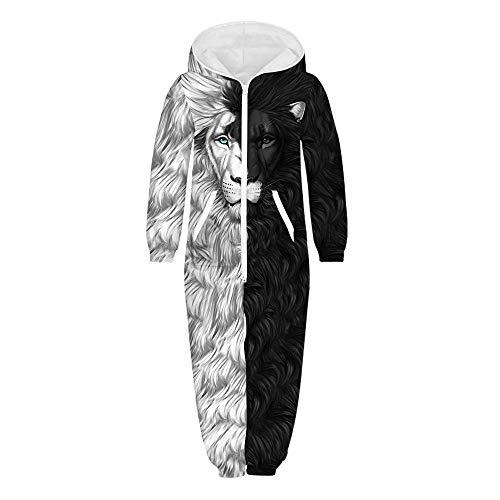 Jumpsuit Jogger für die Ganze Familie, Morbuy Unisex Junge Mädchen Kapuzenpullover Strampelanzug 3D Printed Onepiece Sweatshirt Männer Strampler Nachtwäsche (XL(155-160cm),Löwe)