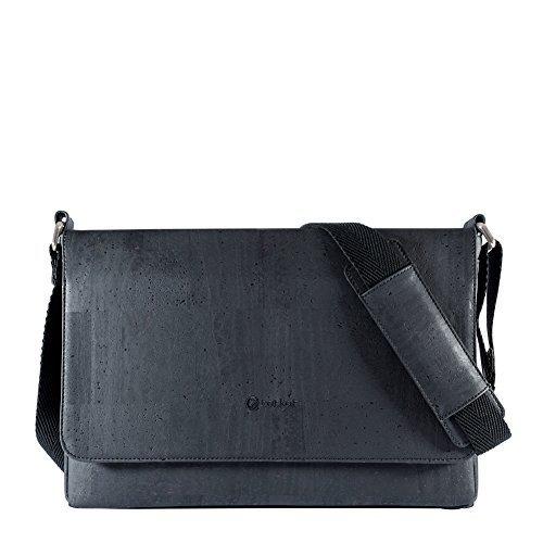 Corkor Herren Umhängetasche Aktentasche Schultertasche für laptop - kork (Schwarz)
