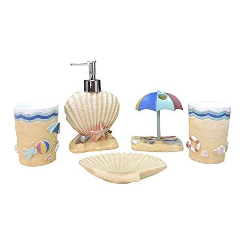 Mcottage 5 Stück Harz Bade Zubehörset Zeitgenössisch Marine Stil Lotion Spender +Zahnbürsten Halter+Seifenbehälter+2 Becher Sets