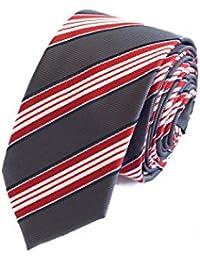 Schmale Krawatte von Fabio Farini gestreift in grau rot