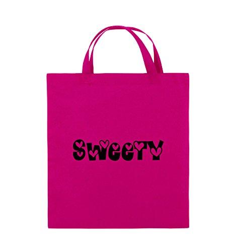 Comedy Bags - Sweety - HERZEN - Jutebeutel - kurze Henkel - 38x42cm - Farbe: Schwarz / Silber Pink / Schwarz