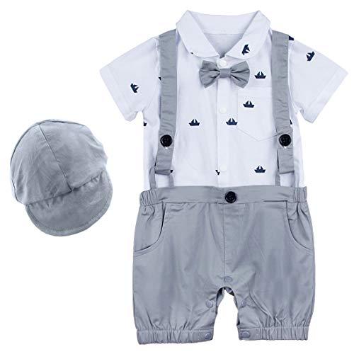 A & J DESIGN Baby Boy Hosenträgerhose Outfit Set Herren Strampler (Hellgrau, 12-18 Monate)