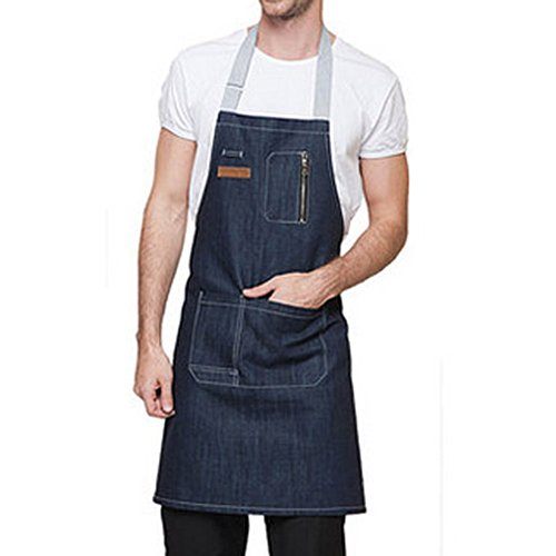 Hense, hsw-022, grembiule in denim, con tasche, per uomini e donne, regolabile, professionale, per cucinare, lavorare la creta o fare giardinaggio Blue