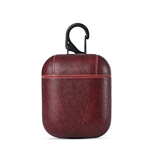 Preisvergleich Produktbild Drahtadapter Echtes hochwertiges Leder für AirPods Vintage Matte Leder Haken Tasche für Apple AirPods Luxus Schutz Aufbewahrungstasche Datenübertragung (Farbe : Braun)
