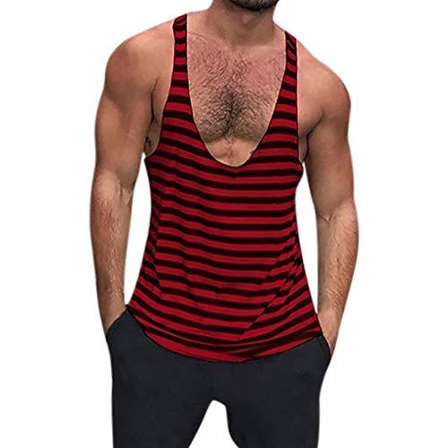 POIUDE Mann Tops Tank Tankshirt Weste Herren Bodybuilding Tank Top Sport Weste Gym Ohne Arm T-Shirt(rot, XL)