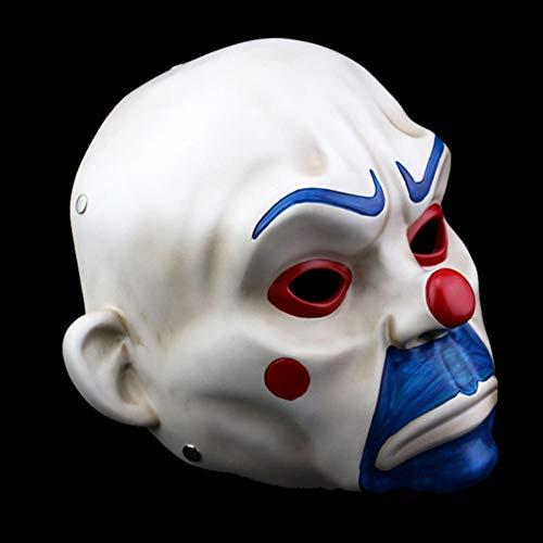 Joker Kostüm Bankräuber - FLTVSN Halloweenmaske für Erwachsene, aus hochwertigem Kunstharz, Joker, Bankräuber, Clown, Batman, dunkler Ritter, Halloween, Requisite, Maskerade, Party, Kostüm, Kostüm, Kostüm