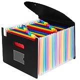 OffiConsent Trieur Document A4 Extensible 24 Compartiments Porte Document Accordéon Document Fichier Wallet Boite de Classement avec un Couvercleet Porte-cartes de Visite