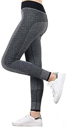Ravki Women's High Quality Strechable Yoga Pant Gym Legging, Grey, Small