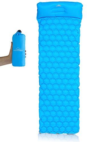 MOUNTREX Aufblasbare Isomatte mit integriertem Kopfkissen | Schlafmatte für Camping & Outdoor | Ultraleicht | Inkl. Reparatur Kit