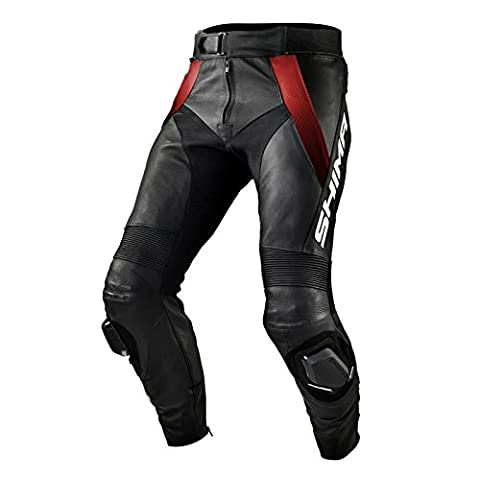 SHIMA STR TROUSERS RED, Leather Motorbike Racing Perforated Sport Motorcycle Suit - pants (Sizes: 46-56)