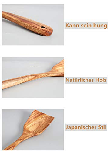 Loned Küchenhelfer Set, 7 Stück Holz Küchenutensilien Sets, Hitzebeständig und Antihaft, Japanischer Stil - 3