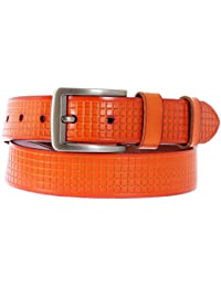 Schmick Tan Genuine Leather Fine Check Design Belt For Men