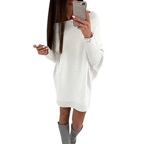 Juleya Damen Pullover Mini Kleider - Herbst und Winter Langarm Sweatshirt Jumper Oberteile Rundhals Pullover Tops Pulli Strickpullover (Mini-spandex-leggings)
