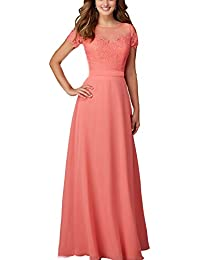 ABaowedding Women's Chiffon Lace Long Bridesmaid Dresses Evening Gowns