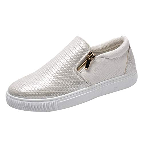 Leder Slipper Damen,Sommer Casual Sneakers Bequem Weich Bottom Slip On Double Zip Turnschuhe Flache Schuhe Outdoor Freizeitschuhe Apple Bottom Sneakers