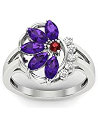 Perrian 18KT Gold , Diamond, Ruby And Amethyst Ring For Women