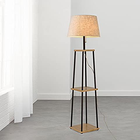 LDD Lampe De Sol Salon Simple Chambre Moderne Lampe De Table Verticale Nordic Sofa Créatif Lampe De Table D'atterrissage A+ ( Couleur : Wood color panel+linen shade