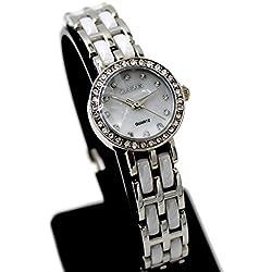 10fw862C PNP glänzend Silber Watchcase Wasser widerstehen Damen Alexis Keramik Marke Uhr