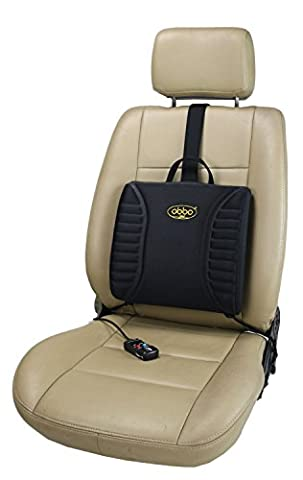 ObboMed SU-3400N 12V 13W Heated Massage Travel Pro-Lumbar Seat Cushion, Support Low Back/Waist for Long Drive / Sitting, Portable, Lightweight with Easy Positioning Counterweight for Car, Automobile, Vehicle, Home, Office