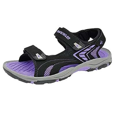 Womens Dunlop Flat Open Toe Velcro Sports Trekking Walking Sandals (3 UK, Black - Purple)