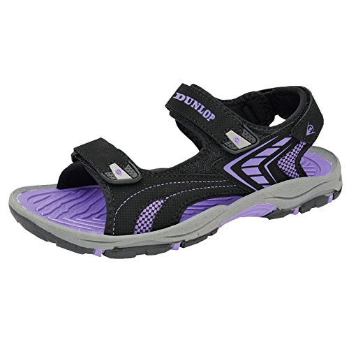 Womens Dunlop Flat Open Toe Velcro Sports Trekking Walking Sandals (6 UK, Black - Purple)