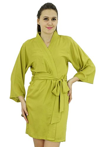 Bimba Femmes court solide Ceinture Robe souple coton modal Wrap ronde ordinaire Peignoir Poire verte