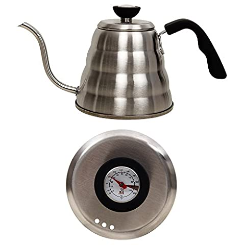 Java Maestro Stainless Steel Gooseneck Kettle- Premium 1.2L Large Pour Over Tea & Coffee Kettle W/ Built-In Thermometer- Top Drip Kettle W/ Bakelite Handle- Excellent Barista Or Home Brewing- Perfect Gift