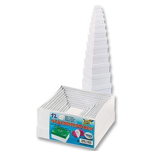 folia 3100 - Geschenkboxen aus Karton Eckig, weiß, 12 stück in verschiedenen Größen