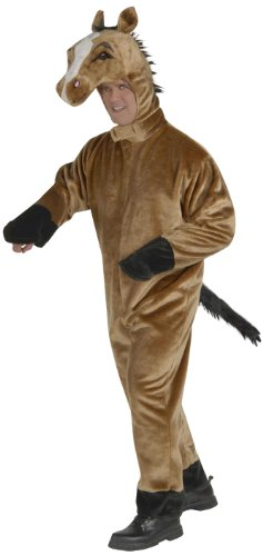 Adult Deluxe Plush Brown Horse Costume Fancy Dress