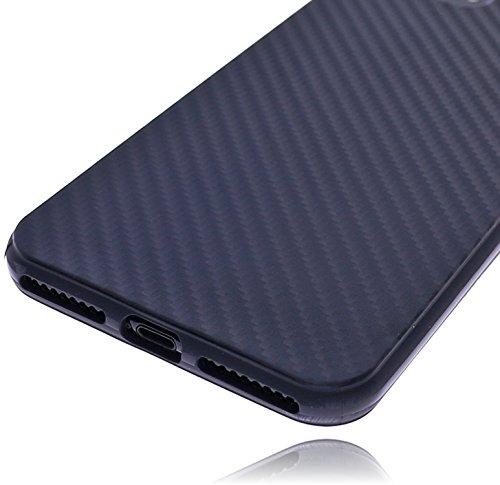 Apple iPhone 8 Plus / 7 Plus (5.5 Zoll) Burkley Hülle Silikon Schutzhülle | Handyhülle | Bumper | Cover | Case | Tasche | Hülle aus bruchfestem TPU Silikon (Rot) Carbon Optik