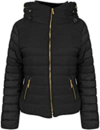 Womens Ladies Quilted Padded Coat Bubble Puffer Jacket Fur Collar Hooded Thick [Black, UK M]